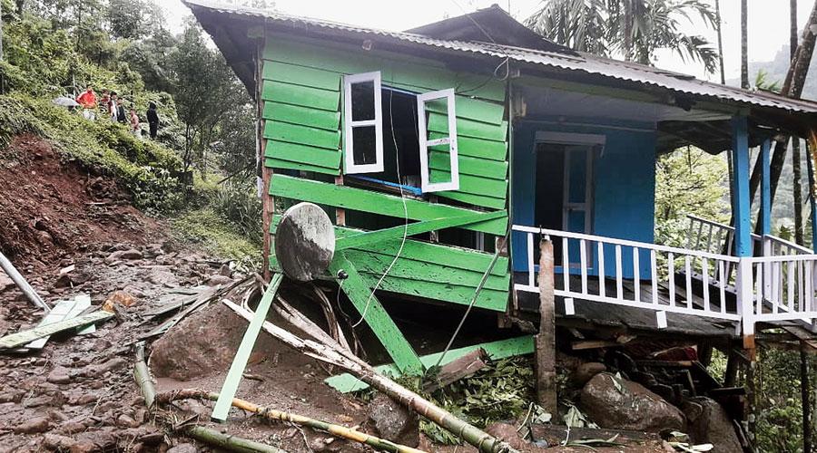 A house damaged by the rain near Samsing in Matialli block of Jalpaiguri on Monday