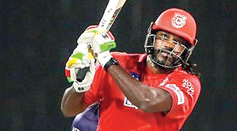 Man of the Match Chris Gayle plays a shot in Sharjah on Monday.