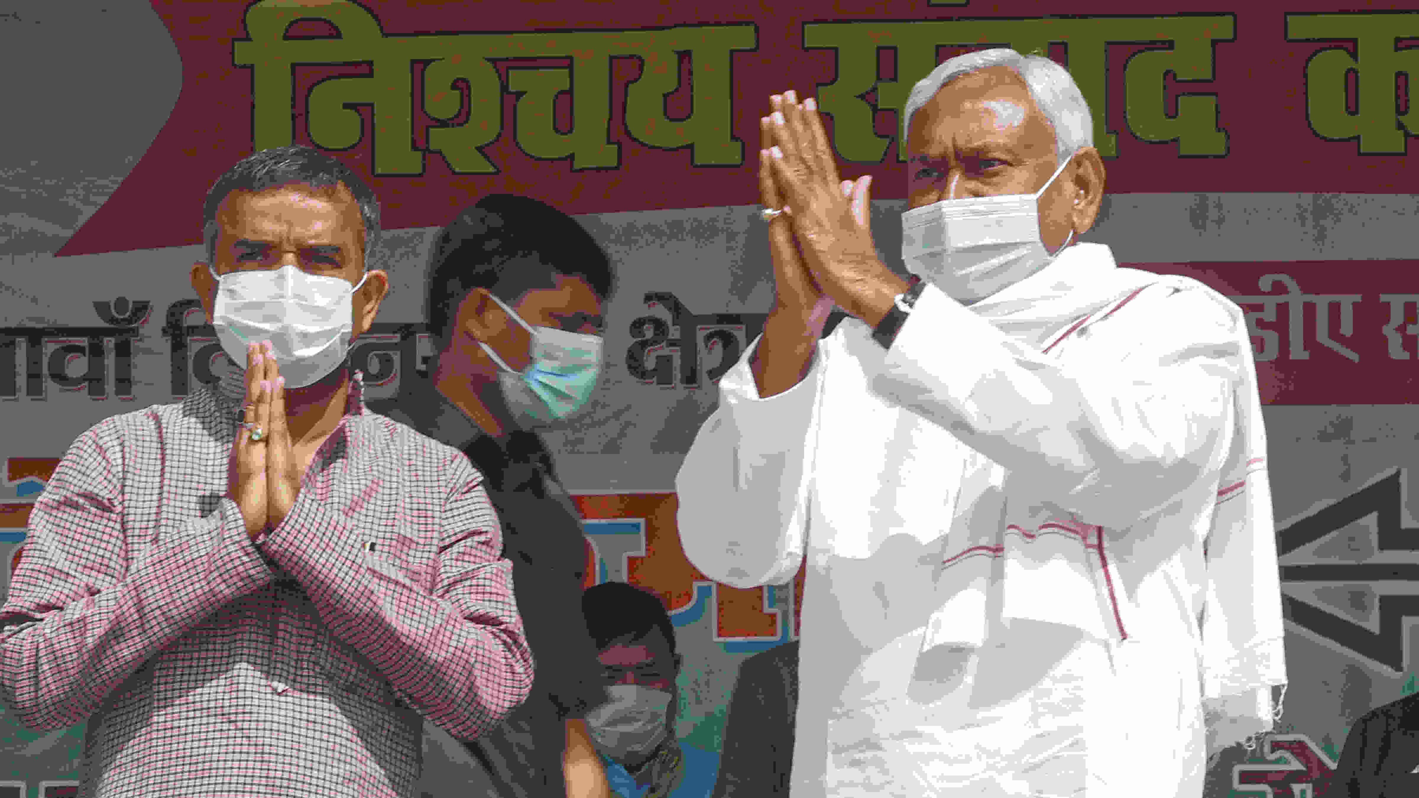 Bihar Chief Minister Nitish Kumar during an election meeting, in Nalanda district, Tuesday, Oct. 27, 2020.