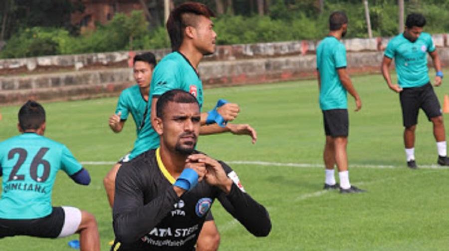 JFC players train at Sangolda panchayat football football ground in Goa on Tuesday.