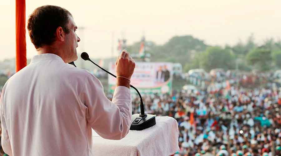 Congress leader Rahul Gandhi speaks during the second leg of his campaign for Bihar assembly elections, at Gyaspur in Darbhanga district, Wednesday, October 28, 2020.
