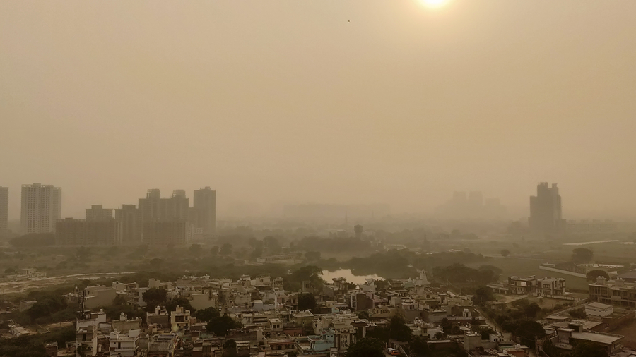 Severe air pollution in Delhi as seen from a tall building day after Diwali.