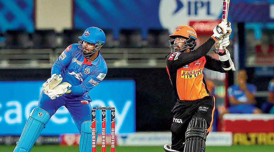 Wriddhiman Saha in the game against Delhi Capitals in Dubai on Tuesday.