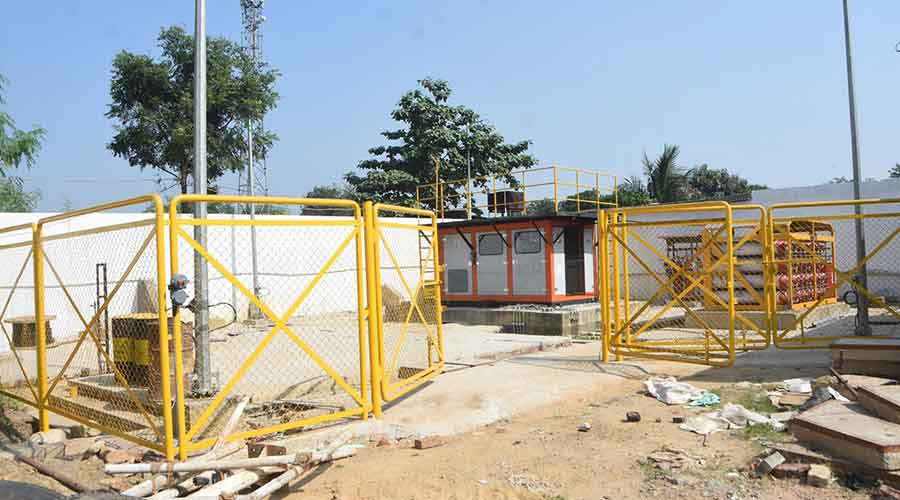 CNG station construction work in progress at HP Gupta Petroleum on NH-32, Putki in Dhanbad on October 29, 2020.