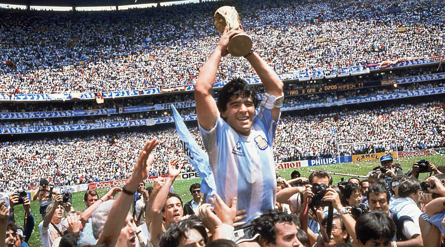 Diego Maradona with the World Cup at the Azteca Stadium in Mexico City on June 29, 1986