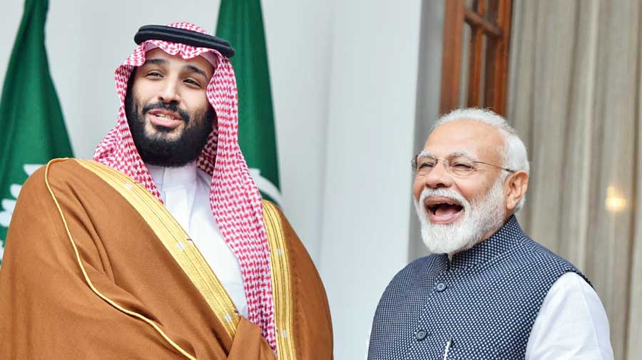Narendra Modi with Mohammed bin Salman in New Delhi in February 2019.
