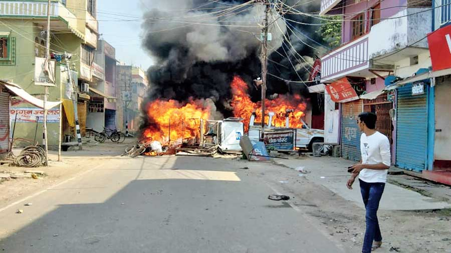 The arson in Munger, Bihar, on Thursday.