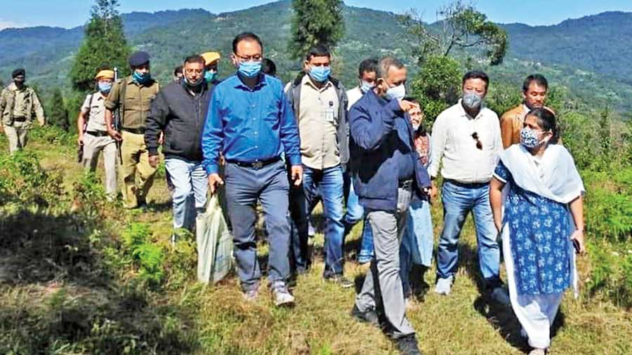 State tourism minister Gautam Deb with others at Nokdara in Kalimpong. Tiny hamlets Nokdara and Rishop will be developed under a rural tourism project