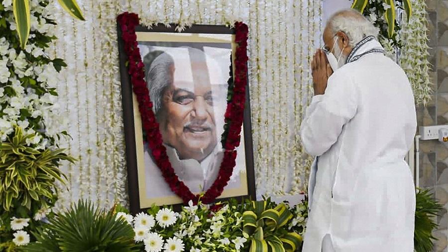 Prime Minister Narendra Modi pays tribute to former Gujarat chief minister late Keshubhai Patel.
