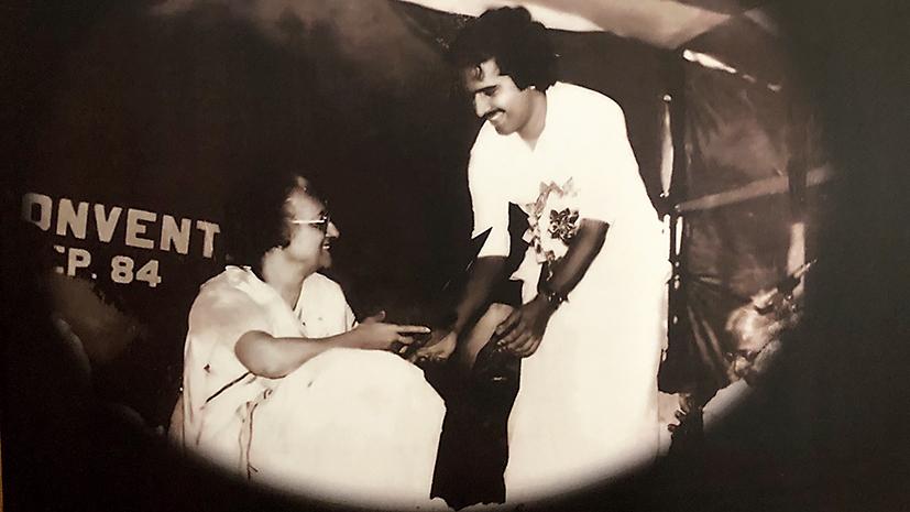 Indira Gandhi with Ramesh Chennithala, Nagpur, 1984.