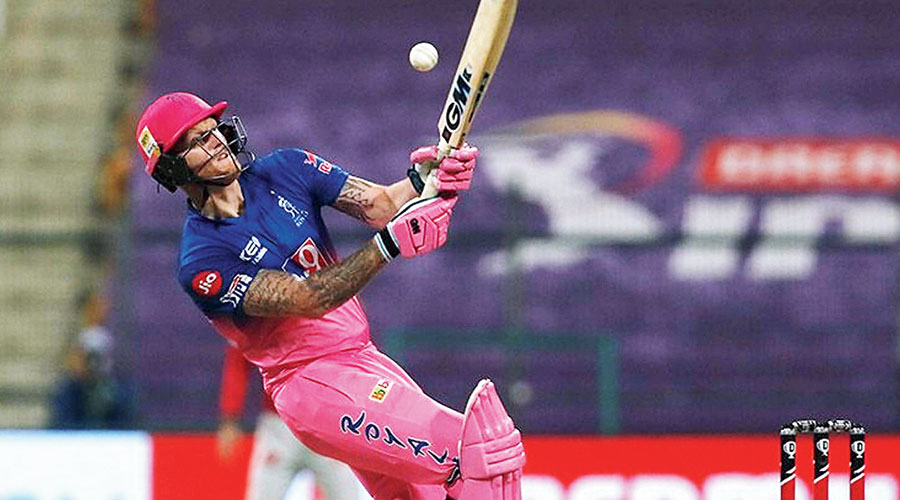 Man of the Match Ben Stokes during his 26-ball 50 against Kings XI Punjab in Abu Dhabi on Friday.