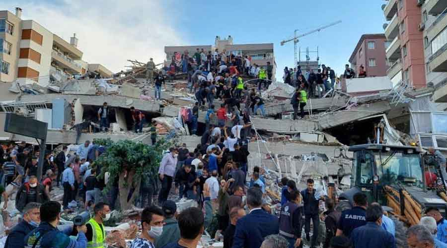 People ran onto streets in panic in the coastal city of Izmir, witnesses said, after the quake struck with a magnitude of up to 7.0