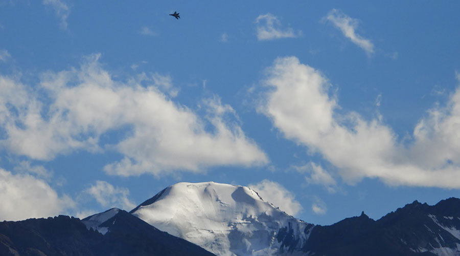 A fighter jet flies in the skies of of Leh, Ladakh, Monday, August 31, 2020.