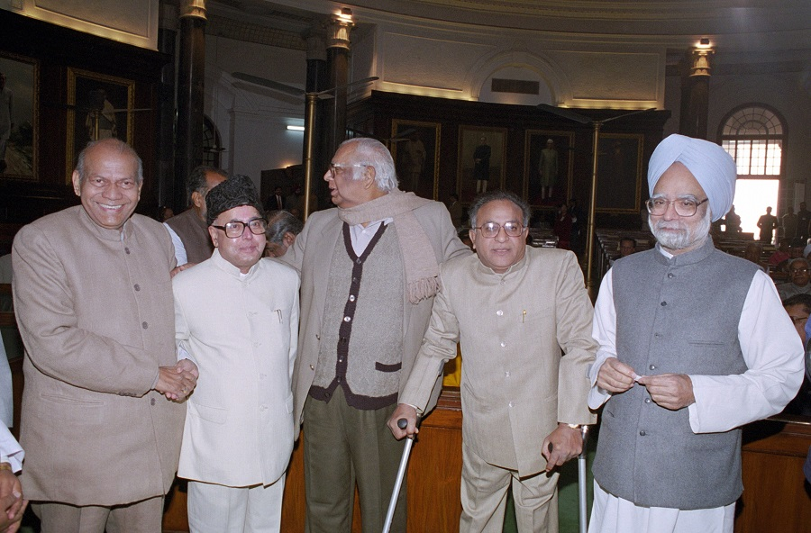 Pranab Mukherjee (Second from Left) with Manmohan Singh and others during Parliamentary Awards in New Delhi on December 19. 1999.