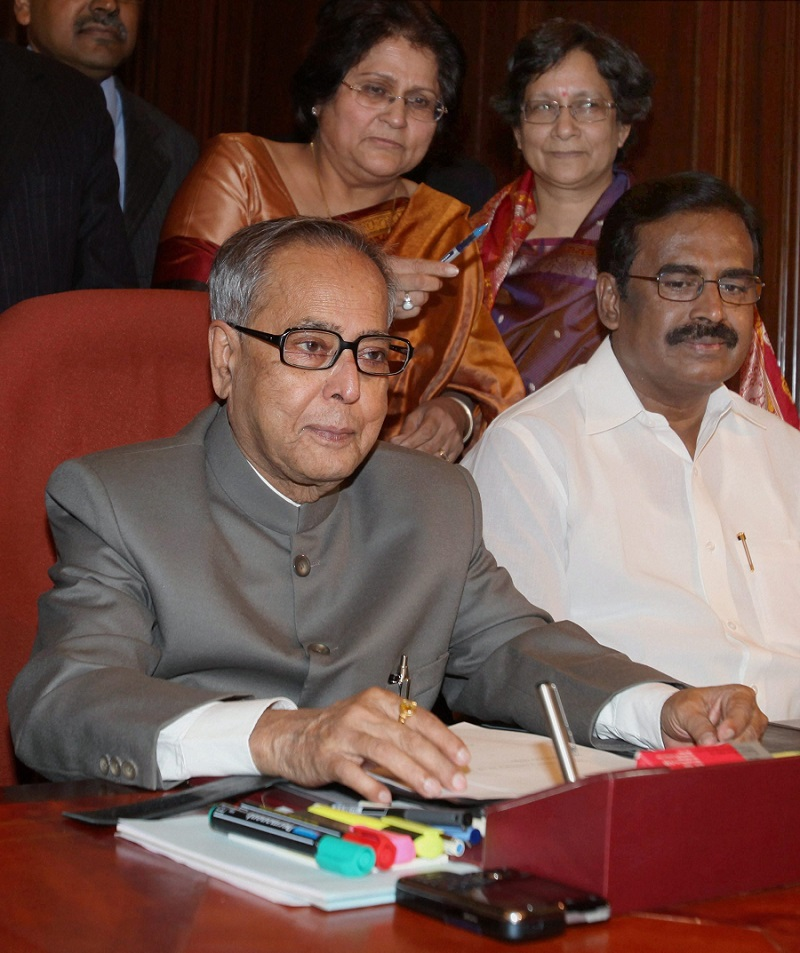 Pranab Mukherjee gives final touches to the Annual Budget 2010-11 as the then Finance Minister in New Delhi on February  25, 2010