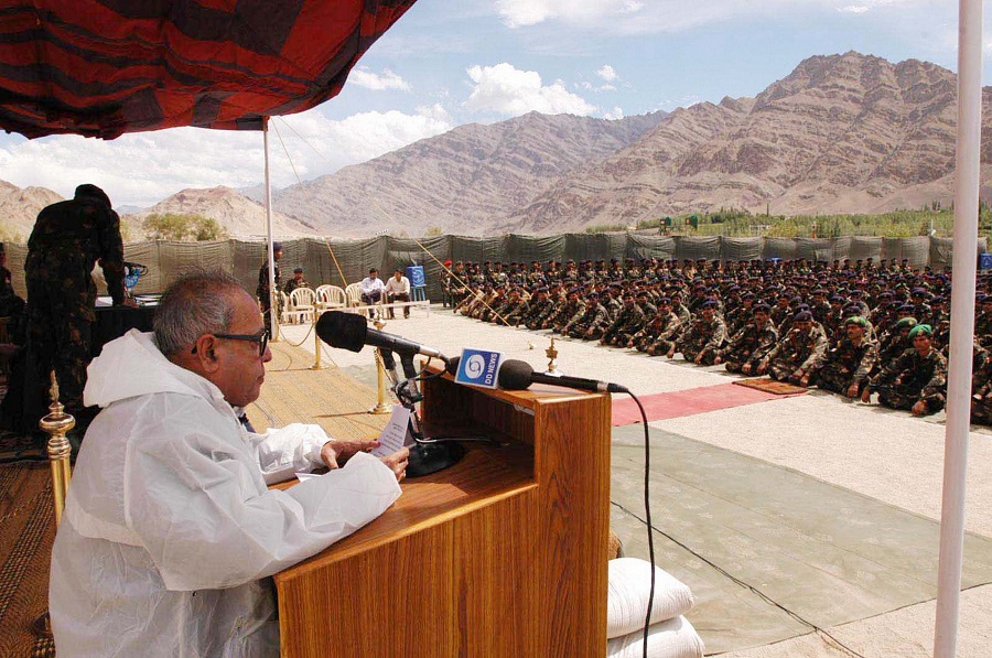 Pranab Mukherjee addresses Army jawans as the then Defence Minister in Leh on August 11, 2004.