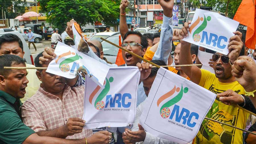 Activists burn copies of NRC list in Guwahati on August 31, 2019.