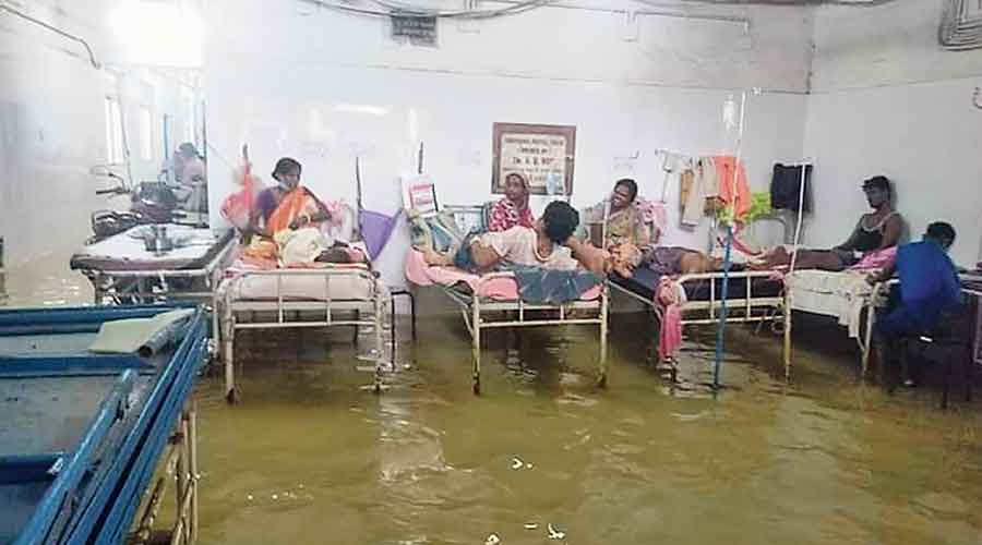 A flooded ward of the Tamluk district hospital