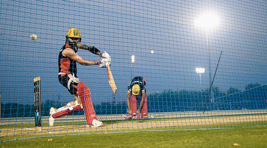 RCB skipper Virat Kohli also at the nets in Dubai.