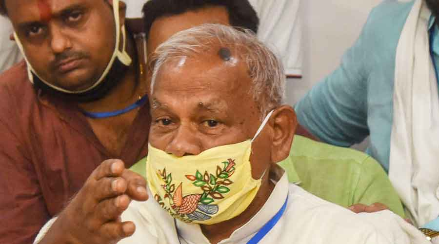 Former Bihar CM and HAM(S) President Jitan Ram Manjhi addresses a press conference, in Patna, on Wednesday