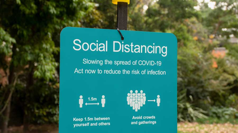 Social distancing sign in public park in NSW, Australia.