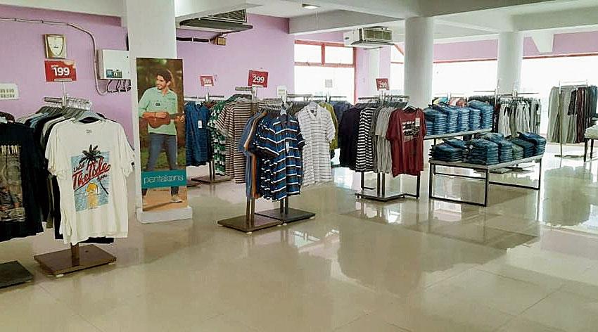 Men's wear on display at the Pantaloons stall at Sugam Park in Narendrapur
