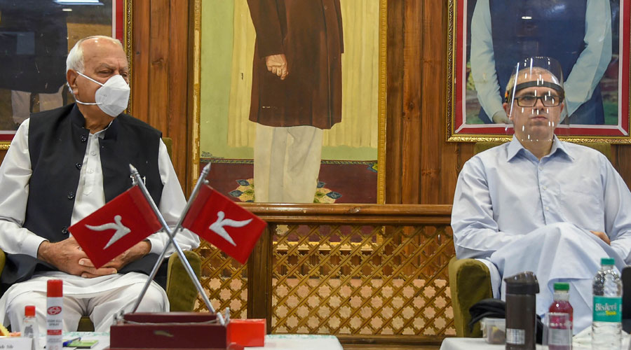 National Conference President Farooq Abdullah and Vice President Omer Abdulla attend the partys first-ever meeting after abrogation of article 370 and 35A, at the party headquarter Nawa-e-Subha, in Srinagar, Saturday, August 29, 2020.