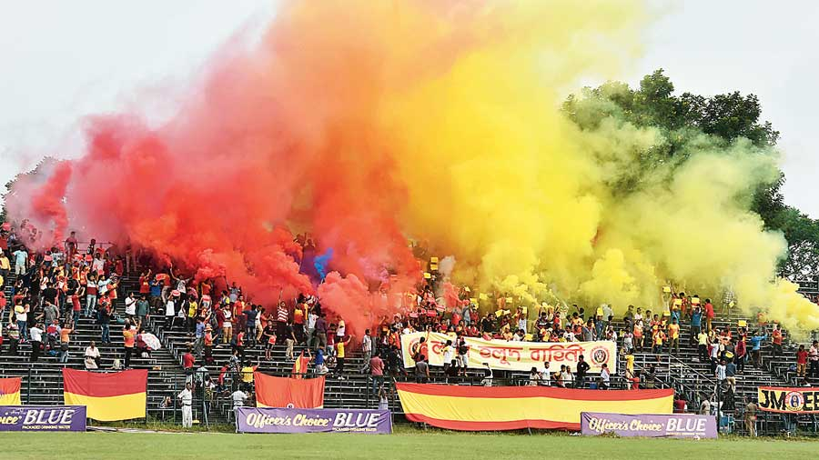 Celebrations during an East Bengal match last year