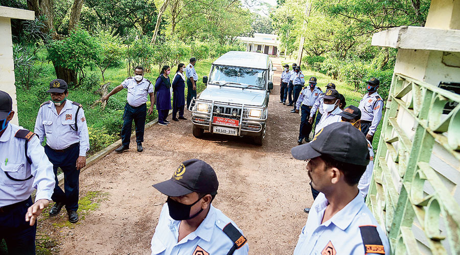 The Enforcement Directorate team in Santiniketan on Thursday.