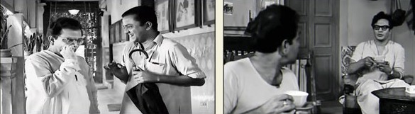 7. Two different movies from two completely different genres. But a very talented actor is sharing the space with two actors who are stars in their own rights – Bhanu Bandyopadhyay and Uttam Kumar. In one scene, he is seen enjoying a dose of nose powder and in the other a cup of tea. Who is this actor who was a favourite of Satyajit Ray?