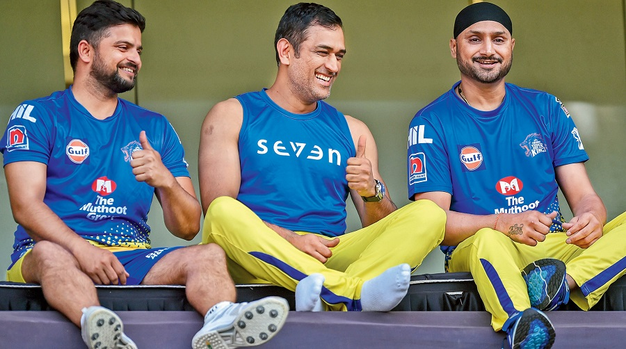 File picture of Suresh Raina, Mahendra Singh Dhoni and Harbhajan Singh of Chennai Super Kings at the Wankhede during IPL 2019