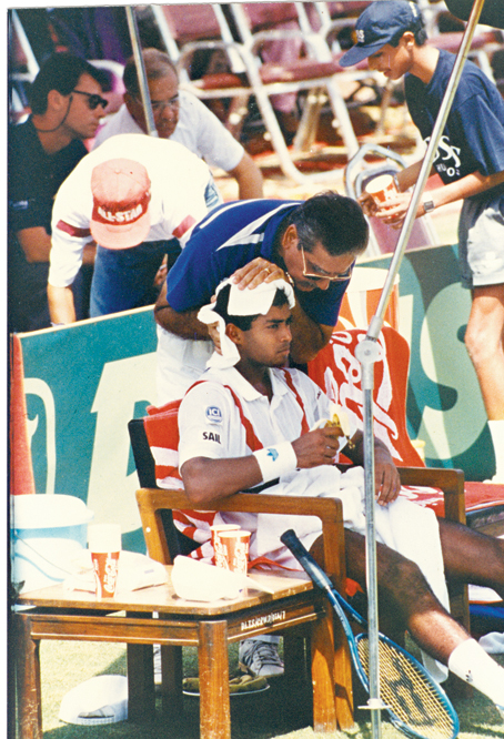 Naresh Kumar, the then Davis Cup captain, with Leander Paes in a Davis Cup tie in India