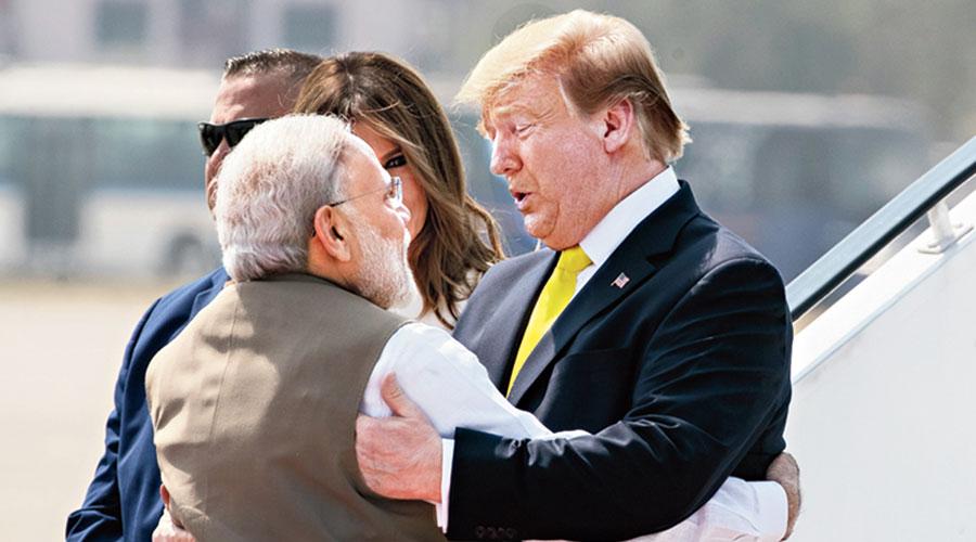 Modi hugs Trump in Ahmedabad.