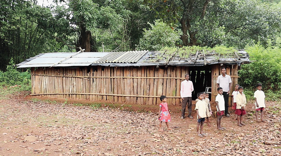 The upgraded primary school at Tutkara village in Arki block in Khunti district that runs from a  makeshift hall.