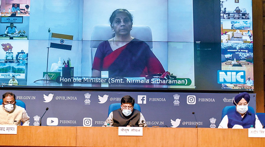 Commerce minister Piyush Goyal with housing minister Hardeep Singh Puri and DPIIT secretary Guruprasad Mohapatra in New Delhi on Saturday, Finance minister Nirmala Sitharaman joined via video conferencing.