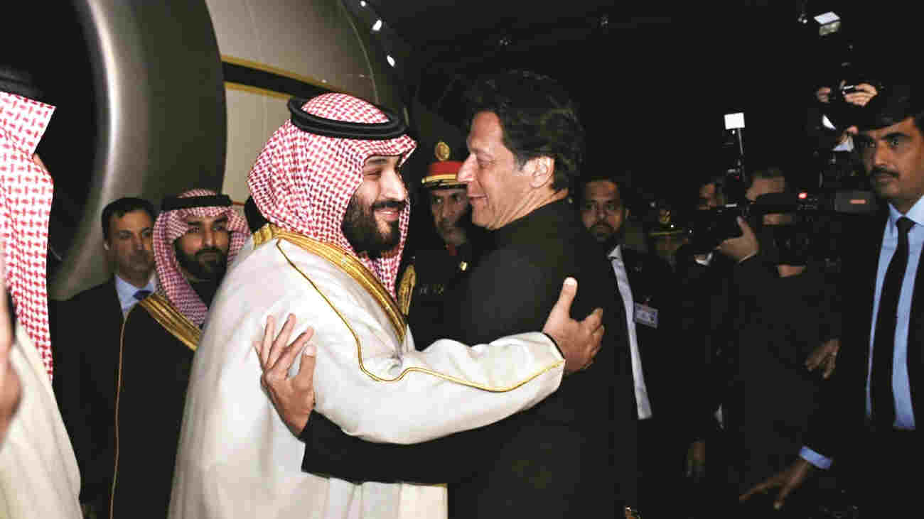 The crown prince of Saudi Arabia, Mohammed Bin Salman, with the prime minister of Pakistan, Imran Khan, in February, 2019.