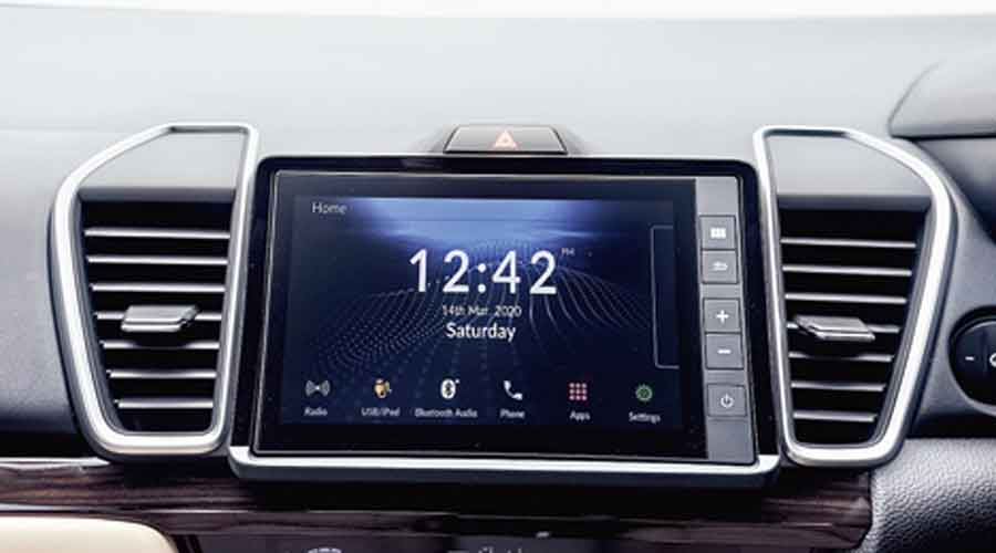 The multifunction infotainment screen also doubles as the screen for the blind spot camera below the left ORVM