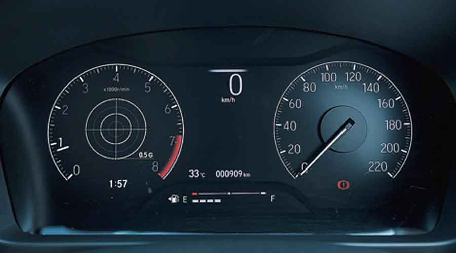 The speedo is still analogue, while a customisable screen takes up the rest of the space in the instrument cluster