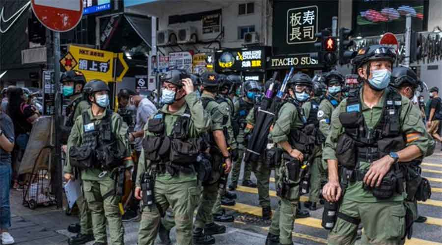Police officers in riot gear on the streets of Hong Kong on September 6, 2020