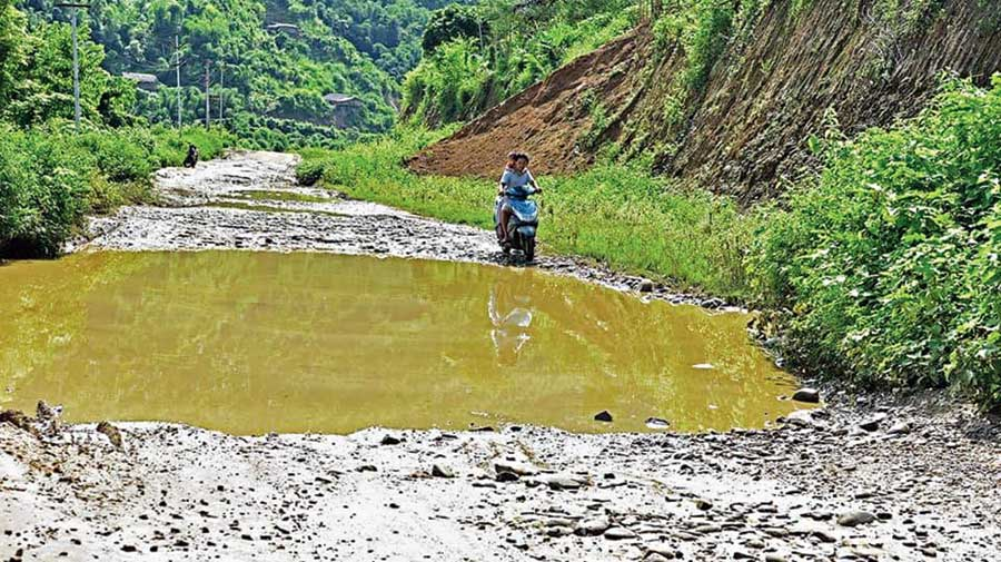The deplorable condition of Taksing road in Arunachal Pradesh.