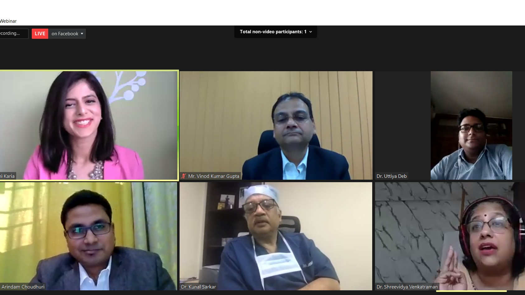 Top left to right: Ms Dhwani Karia, Mr Vinod Kumar Gupta, and Dr. Uttiya Deb | Bottom left to right: Mr. Arindam Choudhuri,  Dr. Kunal Sarkar, and Dr. Shreevidya Venkatraman