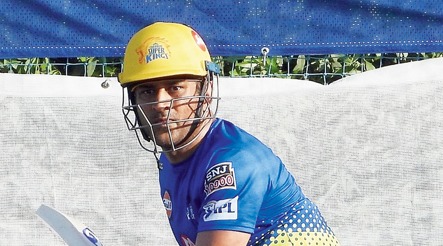 CSK captain Mahendra Singh Dhoni at nets on Tuesday.