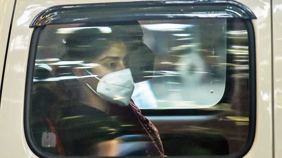 Rhea Chakraborty being taken for a medical test after her arrest in Mumbai.