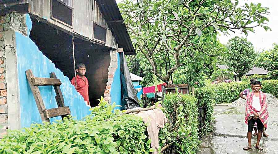 A worker's quarters damaged by wild elephants in the closed Madhu tea estate  of Alipurduar district