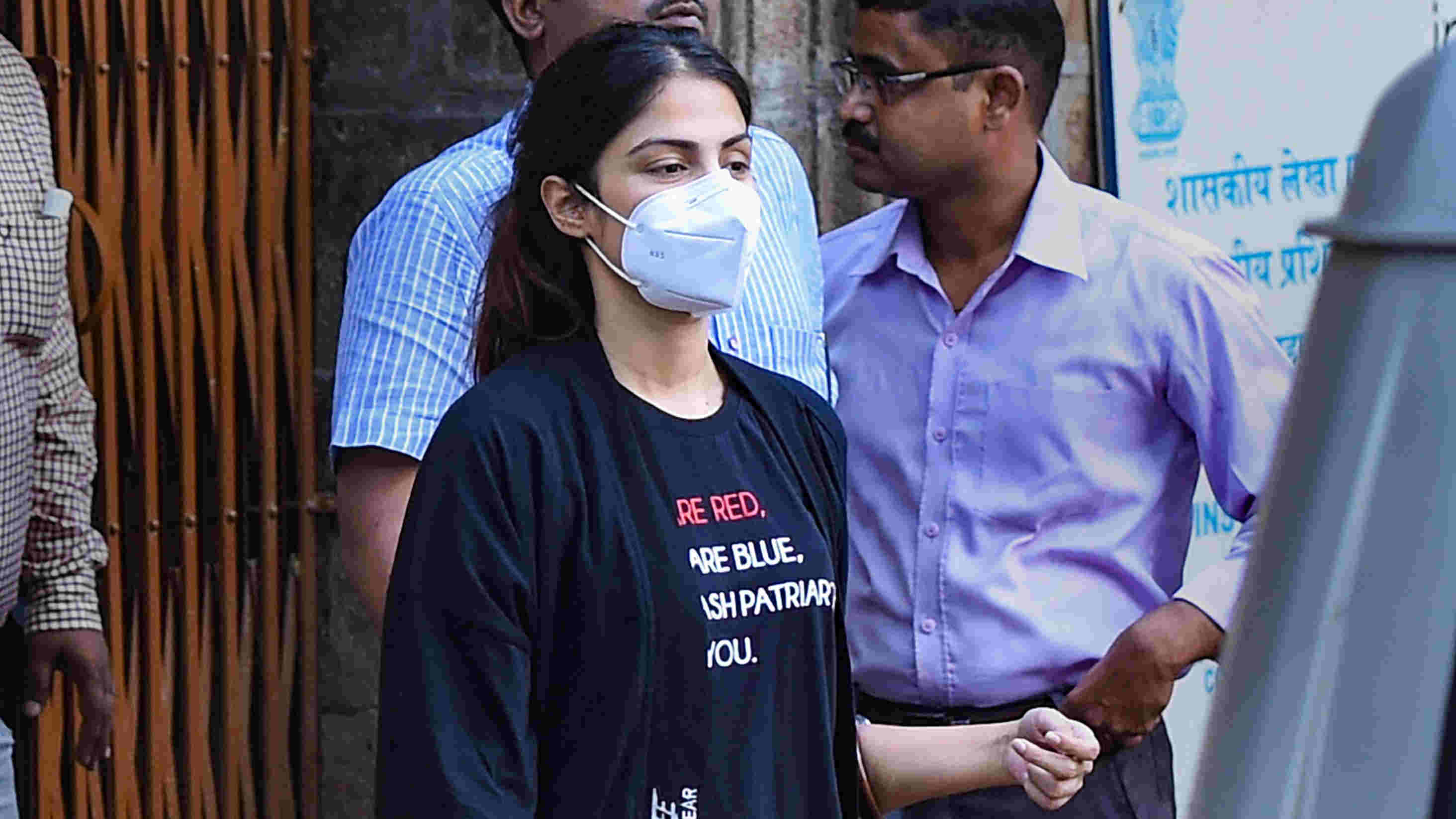 Narcotics Control Bureau officers take Bollywood actress Rhea Chakraborty, who has been sent in judicial custody till September 22 by a local court, to Byculla women jail, in Mumbai, Wednesday, Sept. 9, 2020.