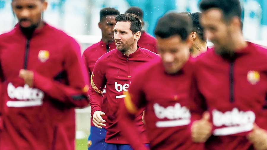 Lionel Messi returns to training with teammates on Wednesday.