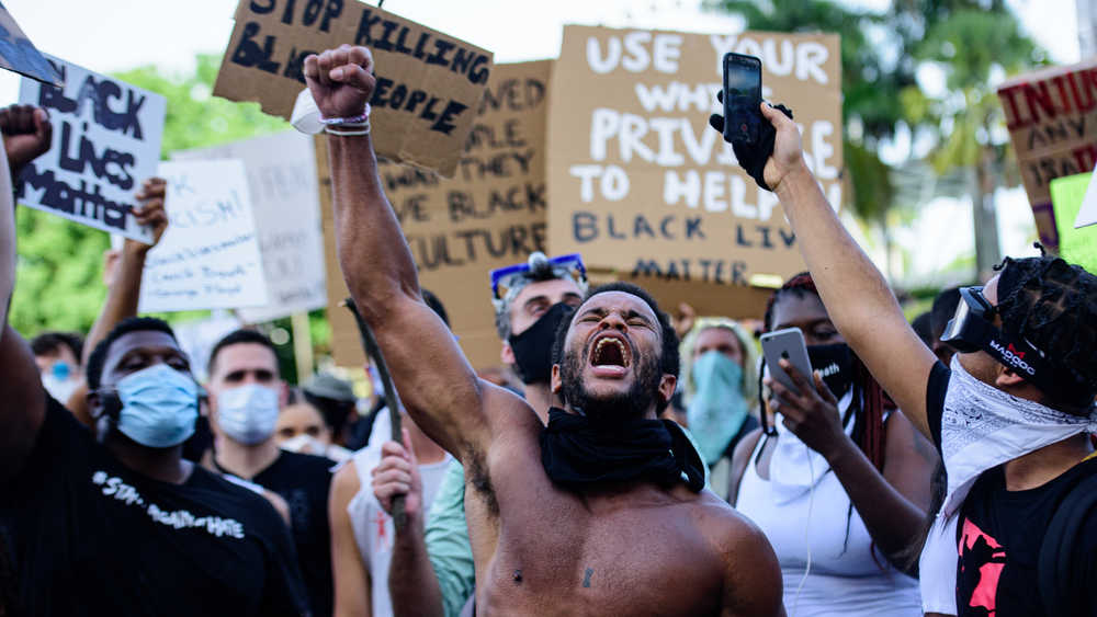 A BLM portest in Miami Downtown, Florida, USA, May 31, 2020.