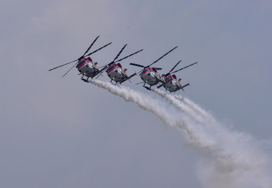 IAF helicopters Sarang perform during the Rafale induction ceremony, at the airbase in Ambala on Thursday.