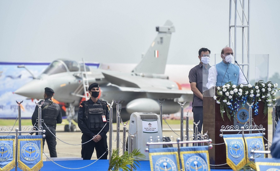 Defence Minister Rajnath Singh addresses during the Rafale induction ceremony, at IAF airbase in Ambala on Thursday.