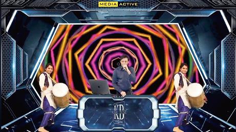DJ Kunal Bose现场直播期间,由VJ Parth Raval制作的视觉效果